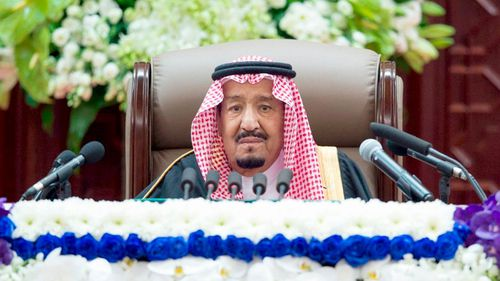 Saudi King Salman gives his annual policy speech in the ornate hall of the consultative Shura Council.