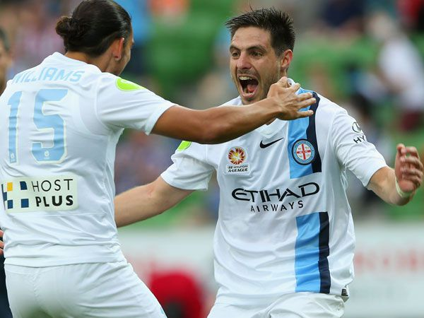 Bruno Fornaroli (R) celebrates one of his two goals for City. (Getty)