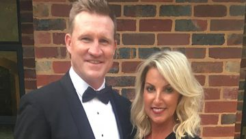 Collingwood coach Nathan Buckley and wife Tania.