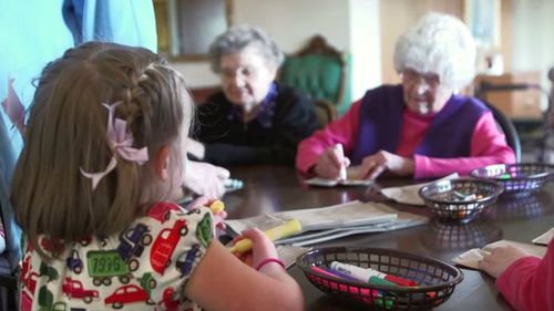 Present Perfect was filmed at the Providence Mount Saint Vincent retirement home in West Seattle, WA, also home to to the Intergenerational Learning Center, over the course of the 2012-2013 school year.