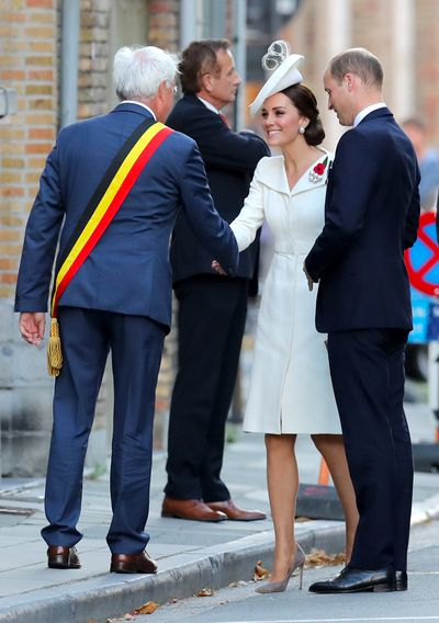 The Duke and Duchess greet officials at the ceremony.