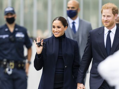 NEW YORK, NEW YORK - SEPTEMBER 23: Meghan Markle, Duchess of Sussex, and Prince Harry, Duke of Sussex, are seen at the World Trade Center on September 23, 2021 in New York City. (Photo by Gotham/GC Images)