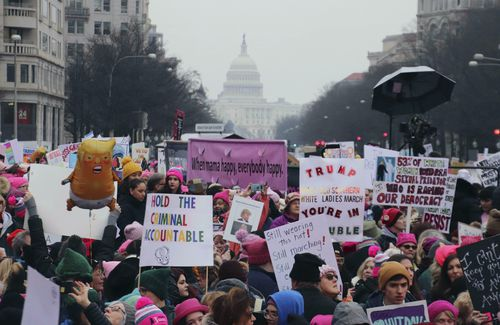 A women's march organised to protest at Donald Trump's policies attracted thousands in Los Angeles.