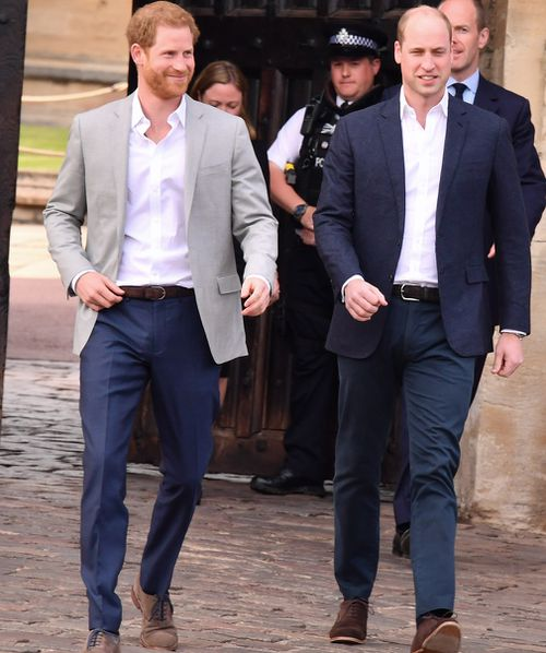 The groom was accompanied by his brother, and best man, Prince William. (Getty)