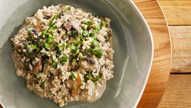 Poh's mushroom and spinach risotto