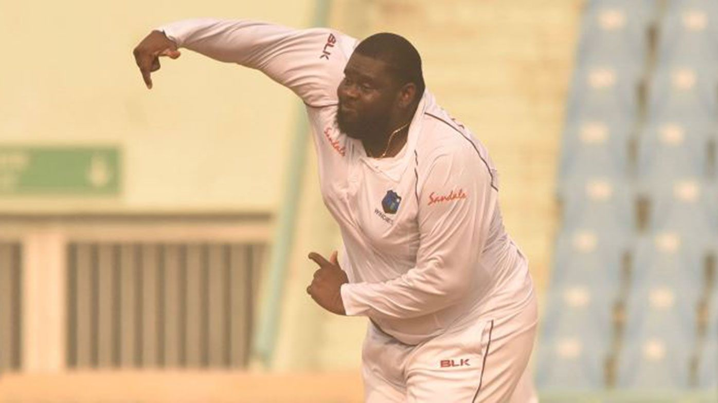 Rahkeem Cornwall in action for the West Indies.