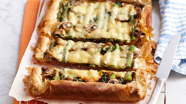 Mushroom and asparagus tart