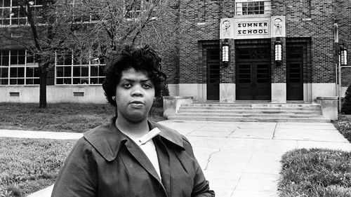 Linda, from Topeka, Kansas, was forced to walk almost an hour and a half - including through dangerous parts of town - to get to classes, despite there being a 'white' school nearby.