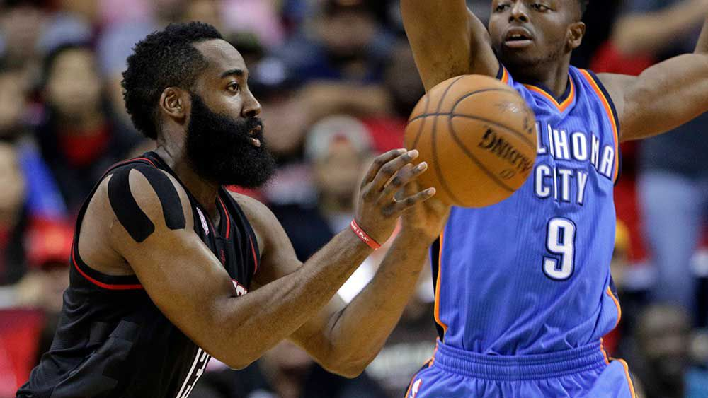 James Harden and the Rockets beat the Thunder in the NBA. (AAP)