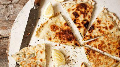 "Recipe: <a href=""http://kitchen.nine.com.au/2016/05/16/11/22/spinach-pine-nut-fetta-gozleme"" target=""_top"">Spinach, pine nut and feta gozleme</a>"