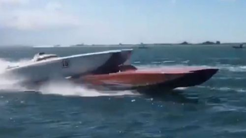 The fourth-placed boat hit the back stern of the third-placed boat (Image: Kevin Karolewicz via Storyful)