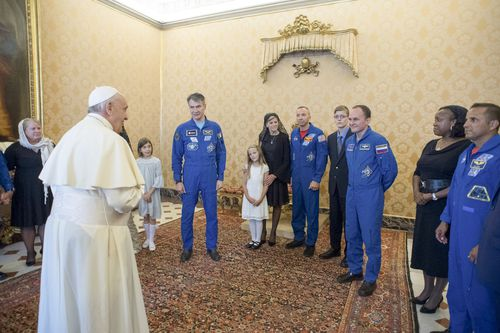 """You will plan my trip,"" the pontiff told the ISS astronauts. (AAP)"