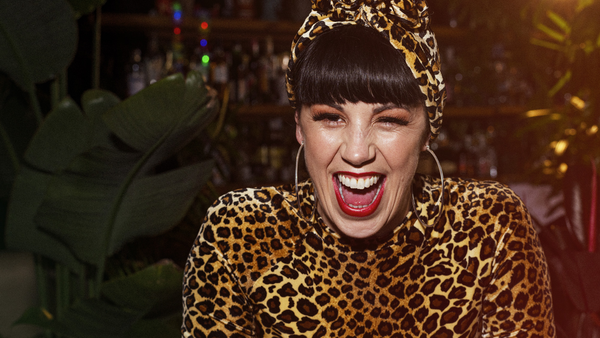 Shannon Martinez vegan chef in leopard print outfit