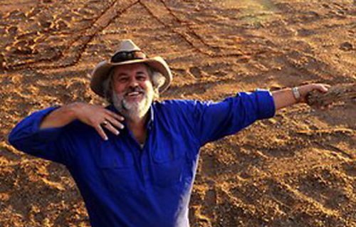 Publican Phil Turner at the Marree Man site.