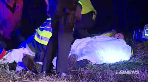 The male officer suffered cuts, while the female officer had a broken wrist. Picture: 9News
