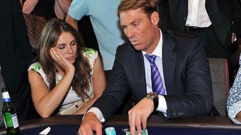 Liz Hurley nods off at Shane Warne's poker game
