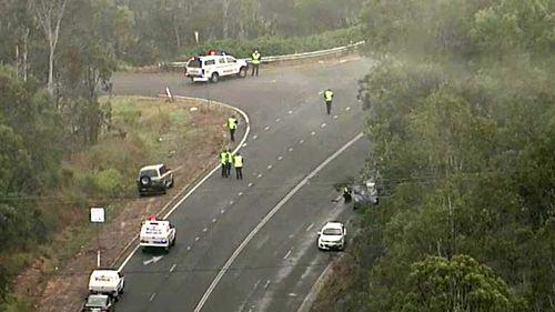 Motorbike rider killed in highway crash west of Brisbane