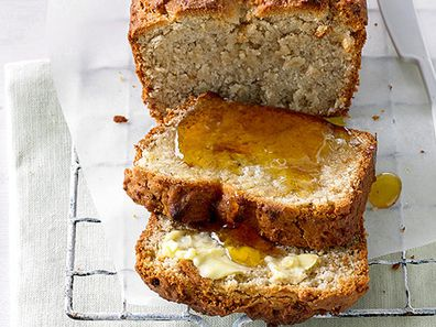 Banana bread with honey and butter