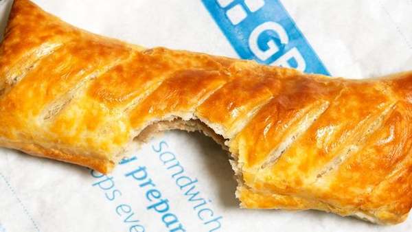 Sausage roll with a bite taken out of the middle