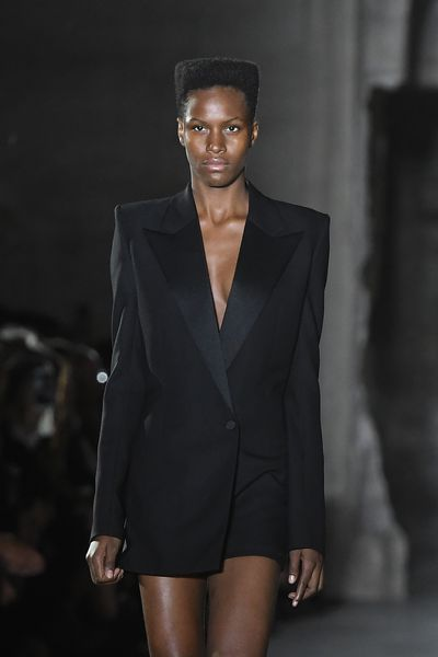 WHY: Vaccarello mined the decade's key looks. This homage to Grace Jones had everyone humming <em>Libertango</em>.
