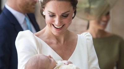 Prince Louis with mum Kate Middleton at his christening, July 2018