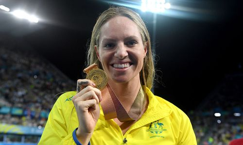 Emily Seebohm with her 50m backstroke gold. (AAP)