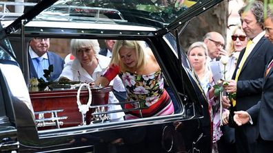 Kerri-Anne Kennerley at husband John's funeral