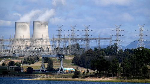 Bayswater coal-fired power station cooling towers and electricity distribution wires in Muswellbrook, in the NSW Hunter Valley region. (AAP)