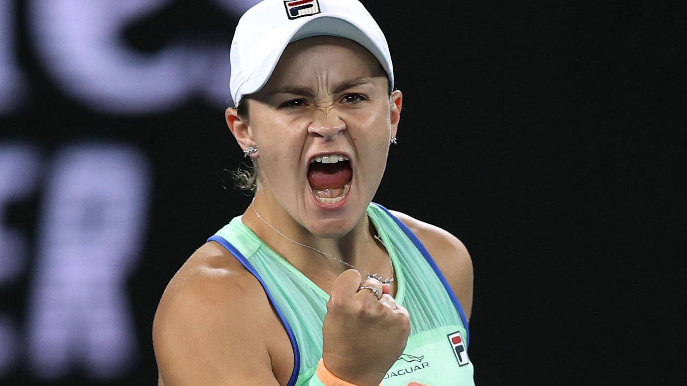 Ashleigh Barty of Australia celebrates after winning match point during her Women's Singles fourth round match against Alison Riske