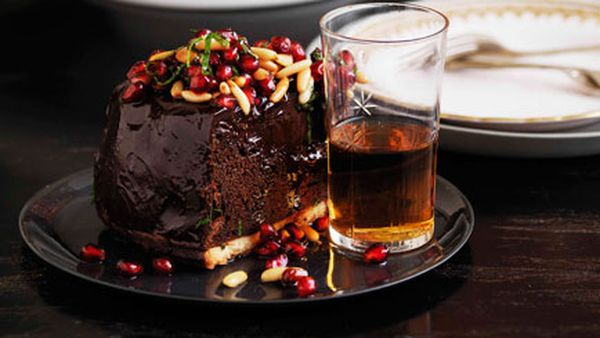 Shane Delia: Chocolate mousse tart with pomegranates and pine nuts