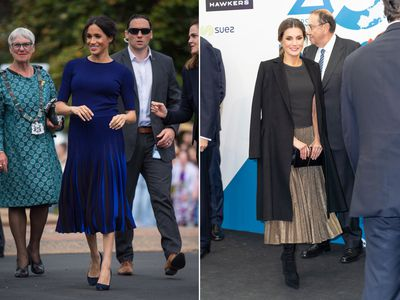 Meghan Markle in New Zealand October, 2018 and Queen Letizia of Spain in Madrid November, 2018