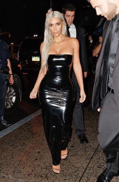 Kim Kardashian wearingLaQuan Smith at New York Fashion Week, August, 2018