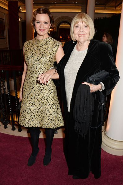 Rachael Stirling (L) and Dame Diana Rigg attend a champagne reception at the 60th London Evening Standard Theatre Awards at the London Palladium on November 30, 2014 in London, England.