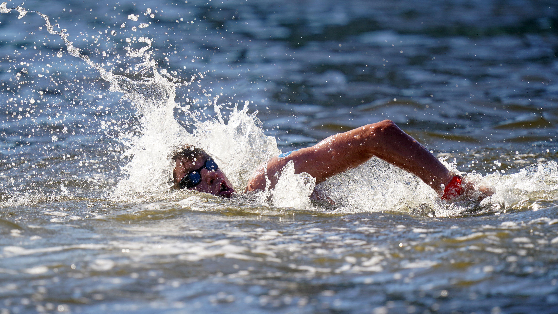 Great Britain's Hector Pardoe during the 10km marathon swim.