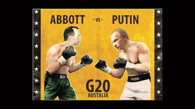 <p>Abbott and Putin go at it old school style in this vintage inspired photo. </p>