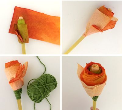 "<p><strong>Paper towel roses ...</strong></p> <p>1. First, make dip-dyed paper towels by dipping scrunched up paper towels into plastic cups filled with water coloured with watercolour paint. Unravel the paper towels, dry them then cut them in half. </p> <p>2. Fold paper towels in half. Then add glue to the top of a paddle pop stick and wind your folded towels around and around in layers. </p> <p>3. As you wind on more towels, try and keep them lower than the centre 'bud' - keep going until you're happy with your 'rose'</p> <p>4. Where the paper towel wraps on the stick, cover the edge with a wind of green wool or twine.</p> <p>Done!</p> <p>- Dip-dyed paper towels</p> <p> </p> <p> Liquid watercolours<br style=""box-sizing: border-box; color: #4e4e4e; font-family: 'Open Sans', sans-serif; font-size: 18px; letter-spacing: 0.5px; background-color: #ffffff;"" /> • Water<br style=""box-sizing: border-box; color: #4e4e4e; font-family: 'Open Sans', sans-serif; font-size: 18px; letter-spacing: 0.5px; background-color: #ffffff;"" /> • Drying rack<br style=""box-sizing: border-box; color: #4e4e4e; font-family: 'Open Sans', sans-serif; font-size: 18px; letter-spacing: 0.5px; background-color: #ffffff;"" /> • Paper towel</p>"