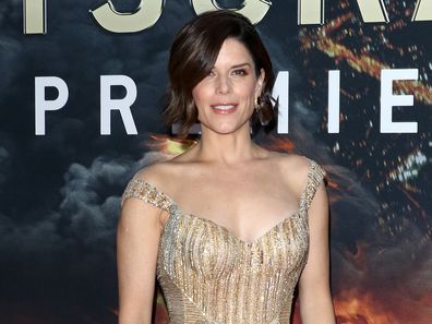 "Neve Campbell attends the ""Skyscraper"" New York premiere at AMC Loews Lincoln Square on July 10, 2018 in New York City."