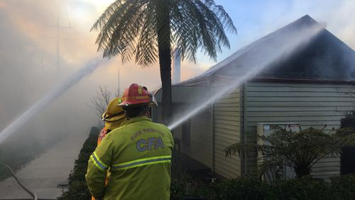 A heritage-listed pub south-east of Melbourne has been destroyed by a fierce blaze this morning.