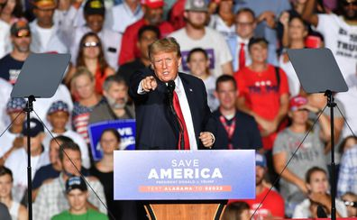 Donald J. Trump delivered a pro-vaccine speech at a major rally hosted by the Alabama Republican Party. (Photo by Peter Zay/Anadolu Agency via Getty Images)