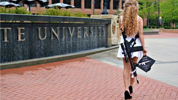 Kaitlin Bennet caused controversy after posing for her graduation photos with an AR-10 rifle across her back. (Twitter)