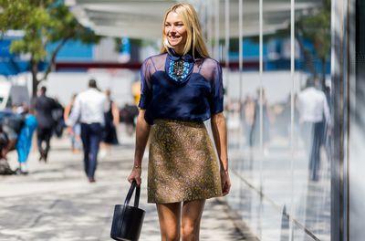 Jess Hart outside the Delpozo show, New York Fashion Week