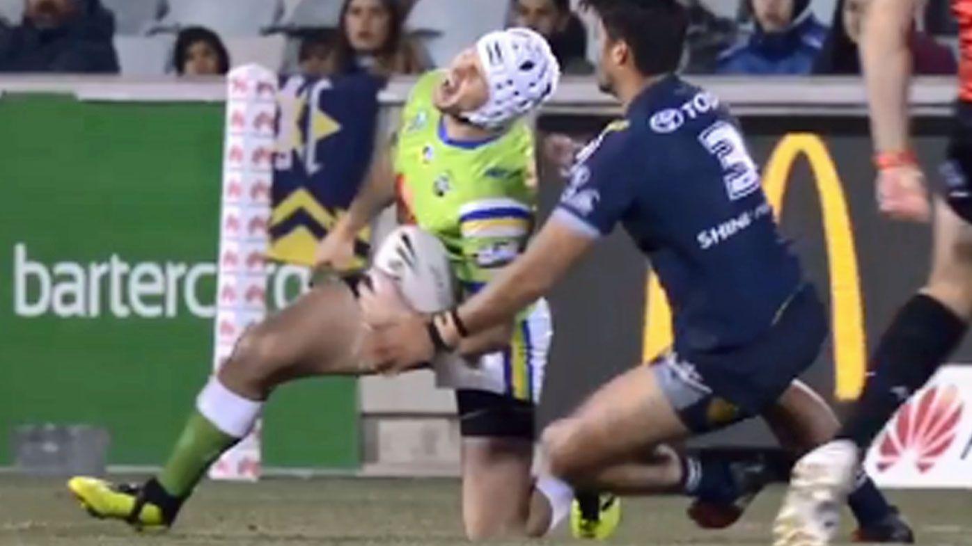 Canberra Raiders captain Jarrod Croker suffers knee injury against Cowboys