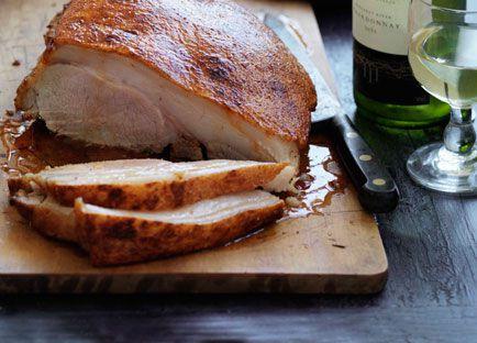 Roast pork loin with corn and capsicum