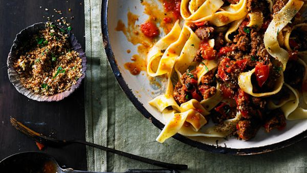 Sausage and cherry tomato ragu with pappardelle and toasted breadcrumbs