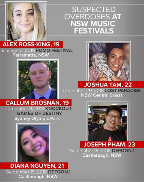 Music festival drug deaths NSW inquest crime news Sydney