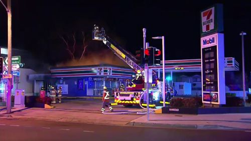 Fire crews were quick to evacuate nearby residents and worked to extinguish the fire. Picture: 9NEWS.