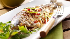 Barbecue trout with a ginger and lemongrass glaze