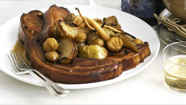 Perry-braised bacon with pears, parsnips and chestnuts recipe