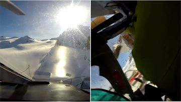 Italian investigators have released video of the moment a plane and chopper crashed over the Alps.