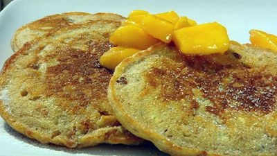 "Recipe:&nbsp;<a href=""http://kitchen.nine.com.au/2016/05/17/13/58/muesli-pancakes-with-butterscotch-mango-sauce"" target=""_top"">Muesli pancakes with butterscotch and mango sauce<br /> <br /> </a>"